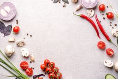 Healthy seasonal food composition with copy space. Healthy food composition. Frame made of cherry tomatoes, champignons, cucumber, basil leaves, garlic, chilly royalty free stock photos