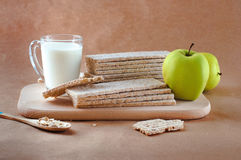 Healthy food concept of breakfast with crispbreads Stock Photos