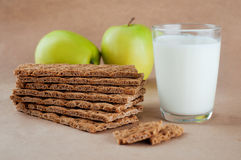 Healthy food concept of breakfast with crispbreads Royalty Free Stock Photo