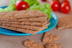 Healthy food concept of breakfast with crispbreads Royalty Free Stock Images