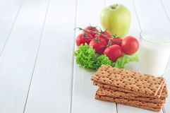 Healthy food concept of breakfast with crispbreads Stock Photography