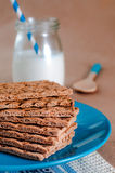 Healthy food concept of breakfast with crispbreads and milk Royalty Free Stock Image