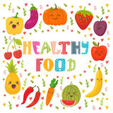 Healthy food concept card. Cute happy fruits and vegetables  Stock Images