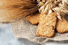 Healthy food concept: cereal biscuits with ears royalty free stock image