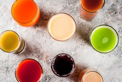 Different juices and smoothies stock photo