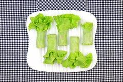 Healthy food concept, Fresh vegetables spring rolls. Stock Images