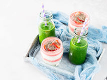 Healthy food concept green smoothie yogurt fruit chia breakfast Stock Photography