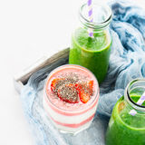 Healthy food concept green smoothie yogurt fruit chia breakfast Stock Photo