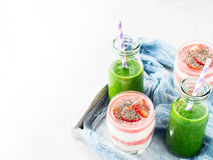 Healthy food concept green smoothie yogurt fruit chia breakfast Stock Image