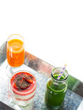 Healthy food concept green smoothie yogurt fruit juice breakfast Stock Image
