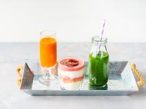 Healthy food concept green smoothie yogurt fruit juice breakfast Stock Images