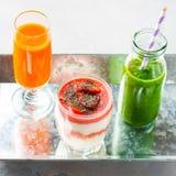 Healthy food concept green smoothie yogurt fruit juice breakfast Royalty Free Stock Photo