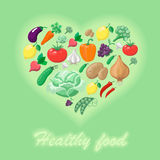 Healthy food concept,  heart shape.  illustration Stock Photo