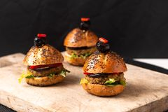 Healthy food concept Homemade mini hamburgers on wooden board with copy space stock image