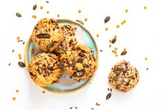 Healthy food concept Homemade Trail Mix organic Whole grains Energy cookies on white background with copy space stock photography