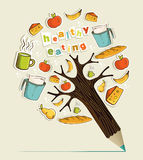 Healthy food concept pencil tree Stock Image