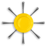 Healthy food concept with plate and fork top view Stock Image