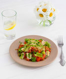 Healthy food concept: spelt salad with vegetables. Spelt salad with vegetables and olive oil Royalty Free Stock Images