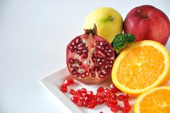 Variety Healthy Fruits on White Background Royalty Free Stock Photo