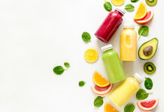 Healthy food concept. Various kind of smoothies or juices in bottles, healthy diet food concept, view from above, space for a text Royalty Free Stock Images