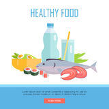 Healthy Food Concept Web Banner Illustration. Royalty Free Stock Images
