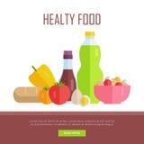 Healthy Food Concept Web Banner Illustration. Stock Image