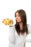 Healthy food concept woman with pasta Stock Photo