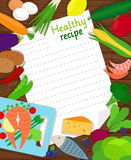 Healthy food cooking recipe paper Royalty Free Stock Images