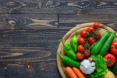 Healthy food and copy space, fresh vegetables Royalty Free Stock Photos