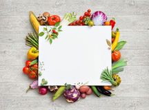 Healthy food and copy space. Studio photo of different fruits and vegetables stock image