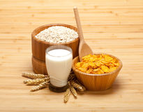 Healthy food - corn flakes with milk Stock Images