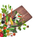 Healthy food with a cutting board. On white Stock Photo