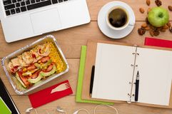 Healthy food delivery, lunch box with diet meal Stock Photography