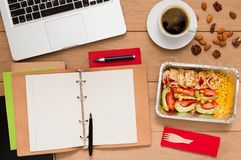 Healthy food delivery, lunch box with diet meal Royalty Free Stock Photography