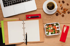 Healthy food delivery, lunch box with diet meal Stock Image