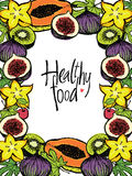 Healthy food design frame with fresh fruits Royalty Free Stock Image