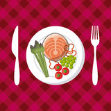 Healthy food design. Plate with fish and vegetables over red background. colorful design.  illustration Stock Images