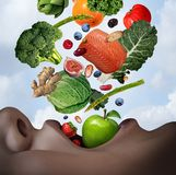 Healthy Food Diet. Concept as an open human mouth with nutritious fresh ingredients falling inside as salmon nuts berries beans vegetables and fruit as a stock illustration