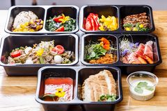 Healthy food and diet concept, restaurant dish delivery. Take away of fitness meal. stock photography