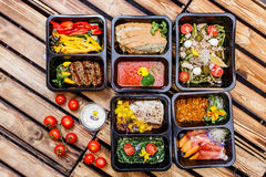 Healthy food and diet concept, restaurant dish delivery. Take away of fitness meal. royalty free stock image