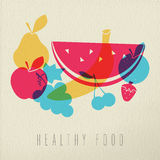 Healthy food diet fruit concept illustration color design Royalty Free Stock Photo