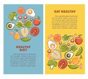 Healthy food and diet nutrition vector posters vegetables, fruits and cereals protein Royalty Free Stock Photos