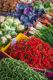 Healthy Food. Display of fresh vegetables for sale at open market Stock Image