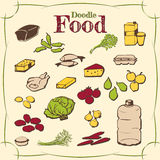 Healthy food doodle set various products. Good food doodle set various products, fish, vegetables and much more. Poster good food with the products stylized hand Royalty Free Stock Images