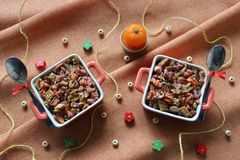 Healthy food: dried fruits, candied fruits, nuts, seeds, sesame. stock image