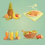 Healthy Food And Drinks Cartoon Set Stock Image