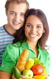 Healthy food eaters Stock Images