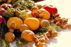 Healthy food, healthy eating on Christmas holiday. Christmas decoration on table in Christmas night, decoration for the upcoming holidays Royalty Free Stock Photo