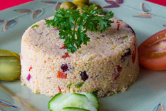 Healthy food eating: Couscous dish Royalty Free Stock Images