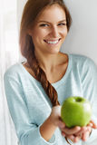 Healthy Food, Eating, Lifestyle, Diet Concept. Woman With Apple. Royalty Free Stock Photography